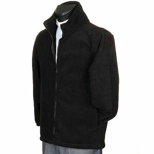 Black pile jacket with zip and pockets s2