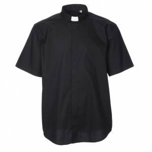 Clergy Shirts: STOCK Black popeline clergyman shirt, short sleeves
