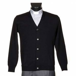 Cardigan jackets: Black woolen jacket with buttons