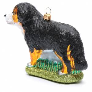Blown glass ornaments: Blown glass Christmas ornament, Bernese Mountain dog