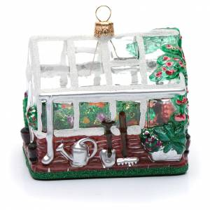 Blown glass ornaments: Blown glass Christmas ornament, greenhouse
