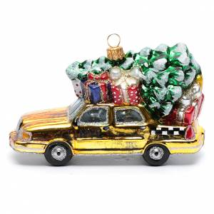 Blown glass ornaments: Blown glass Christmas ornament, New York taxi with Christmas tree