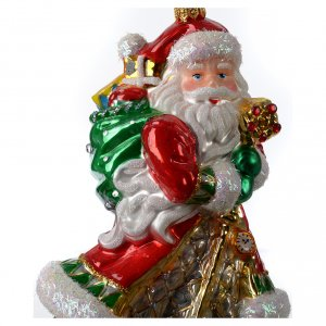 Blown glass ornaments: Blown glass Christmas ornament, Santa Claus with gifts