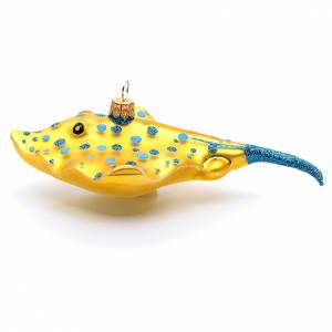 Blown glass ornaments: Blown glass Christmas ornament, yellow manta
