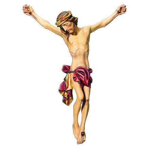 Body of Christ painted wood, red drape s1