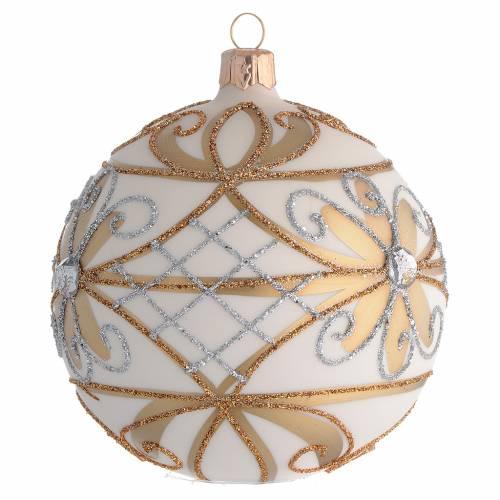 Bola de Navidad blanco crema, flores y decoraciones plateadas 100 mm s2