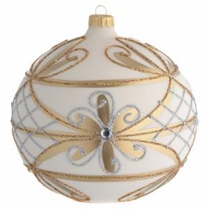 Bola de Navidad blanco crema, flores y decoraciones plateadas 150 mm s1