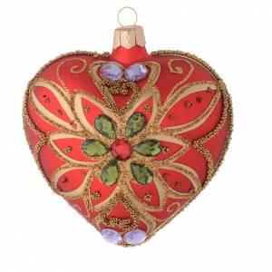 Bola de Navidad corazón rojo y decoración floral verde 100 mm s1