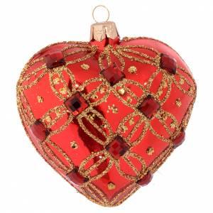 Bolas de Navidad: Bola de Navidad corazón vidrio soplado rojo y piedras verdes 100 mm