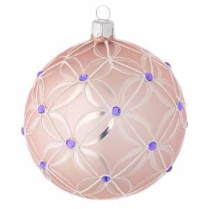 Bolas de Navidad: Bola de Navidad de vidrio soplado color rosado y viola 100 mm