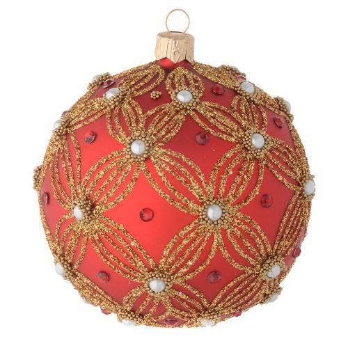 Bola de Navidad de vidrio soplado rojo con perlas y decoraciones oro 100 mm s3
