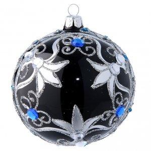 Bolas de Navidad: Bola de Navidad vidrio soplado decoración negra y plateada 100 mm