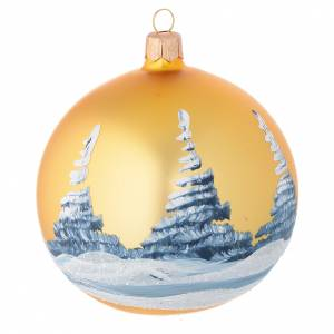 Bola de Navidad vidrio soplado oro paisaje decoupage 100 mm s2