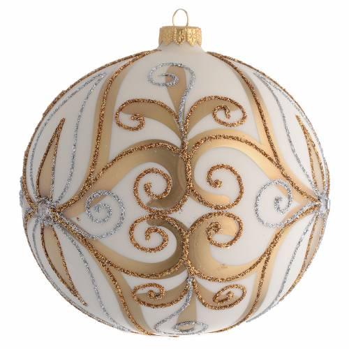 Bola de Navidad vidrio soplado oro, plata, blanco crema 150 mm s2