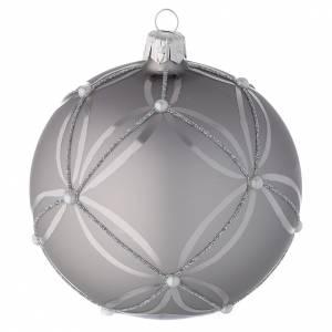 Bola para árbol de Navidad de vidrio plata lúcido/opaco 100 mm s2