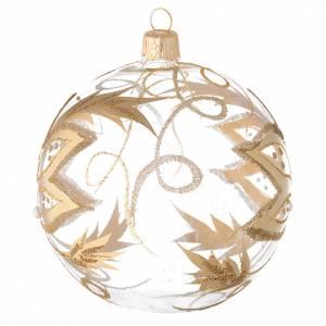 Bola para árbol de Navidad de vidrio soplado con flores doradas 100 mm s2