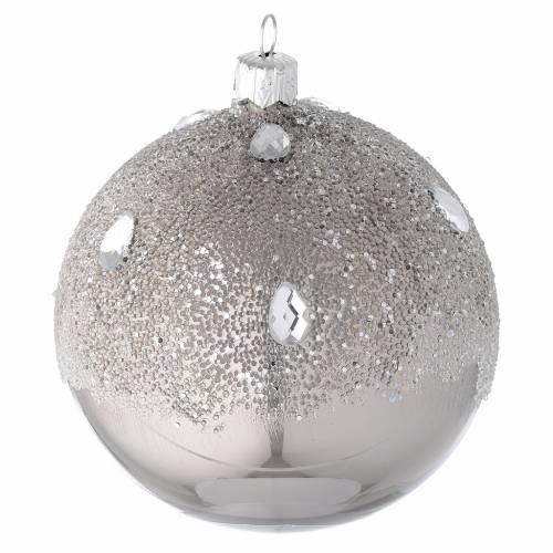 Bola para árbol de Navidad de vidrio soplado plata efecto hielo 100 mm s1