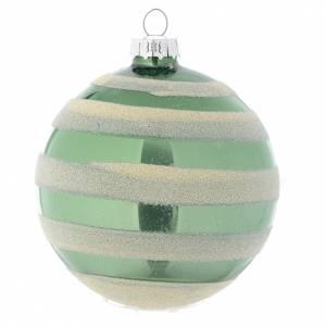 Bolas de Navidad: Bola vidrio árbol de Navidad color verde y plata 80 mm