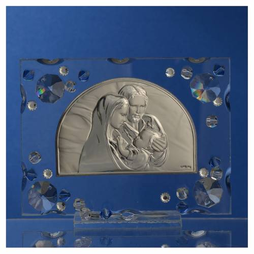 Bomboniera matrimonio quadro S. Famiglia Swarovski blu s2
