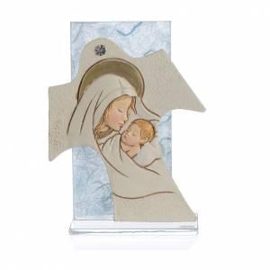 Bomboniera Nascita Quadretto Croce Maternità celeste 11,5x8 cm s1