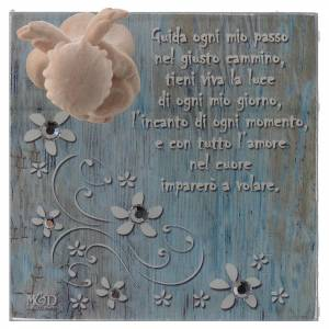 Bomboniera scatolina vetro 8x8 angelo legno blu s2
