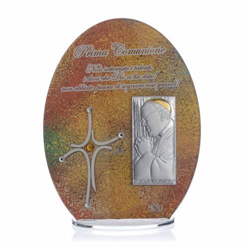 Bonbonnière Communion cadre Pape François 16,5 cm s1