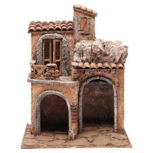 Capanne Presepe e Grotte: Borgo con casa e capanna presepe 35x29x22 cm
