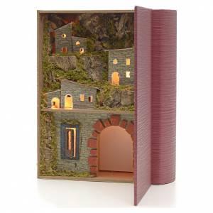 Borgo illuminato con grotta ad arco in libro 24x19x8 cm s2