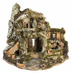 Capanne Presepe e Grotte: Borgo presepe con capanna e fontana: 58x48x38 cm