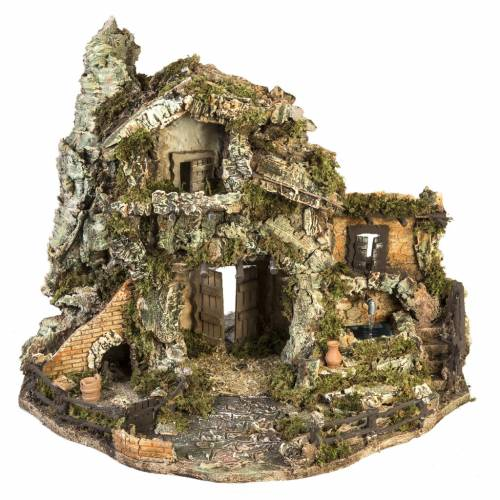 Borgo presepe con capanna e fontana: 58x48x38 cm s1