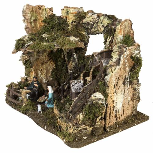 Borgo presepe con grotta 28x38x28 cm s4