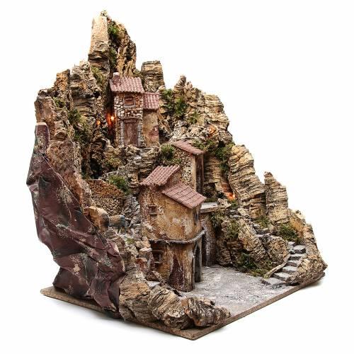 Borgo presepe illuminato con capanna ruscello forno 80x62x58 cm s3