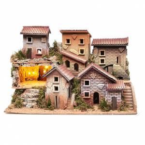 Capanne Presepe e Grotte: Borgo presepe illuminato con grotta 33x60x25 cm