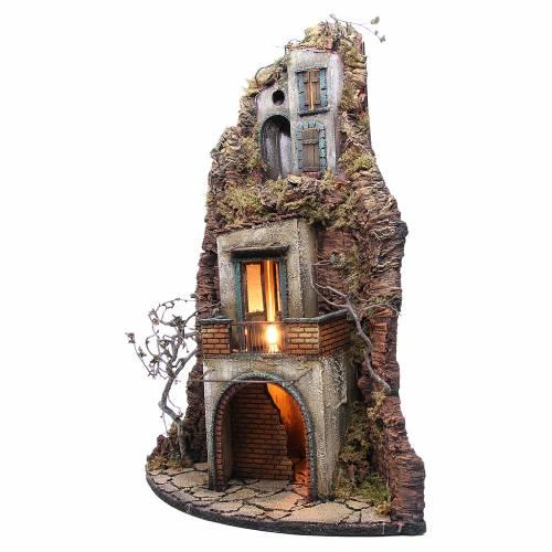 Borgo presepe napoletano 74x40x36 fontana e luce s2