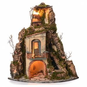 Presepe Napoletano: Borgo presepe napoletano stile 700 angolare cascata 65x44x40