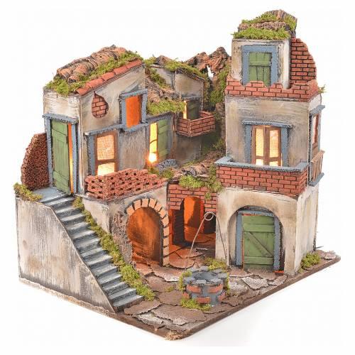 Borgo presepe napoletano stile 700 con pozzo e luce 45x55x38 s2