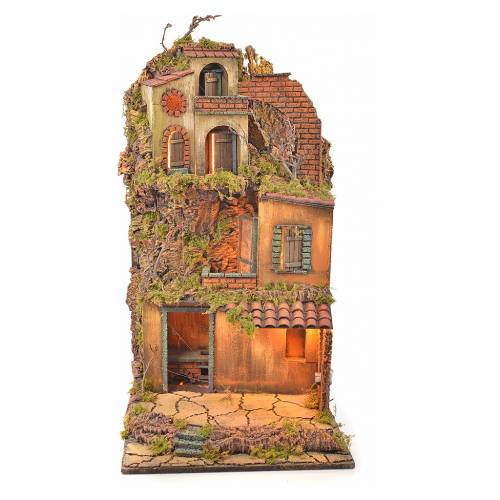 Borgo presepe napoletano stile 700 torre forno luce 65x45x37 s1