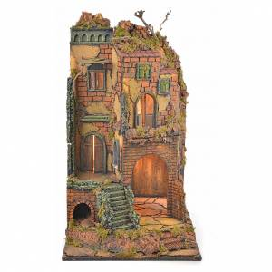 Borgo presepe napoletano stile 700 torre scale luce 65x45x37 s5