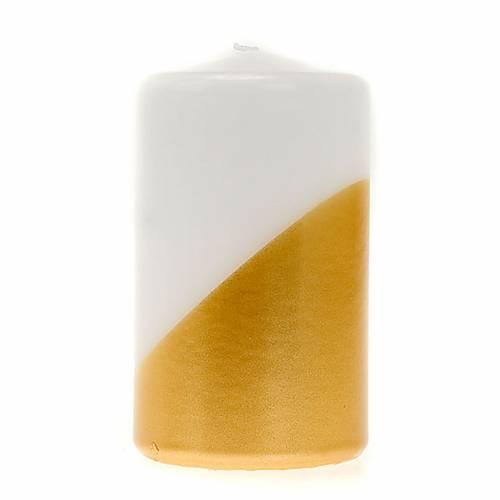 Bougie de Noel,blanche et or, en pointe, 7 cm de diamètre s1