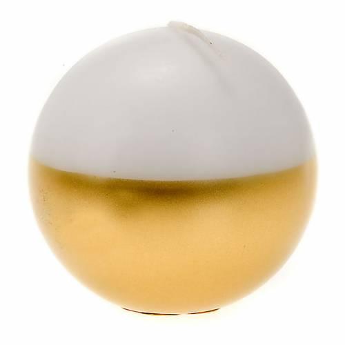 Bougie de Noel,sphère, blanche et or s1