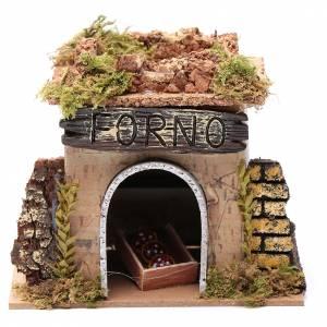 Maisons, milieux, ateliers, puits: Boulangerie en miniature crèche 15x10 cm