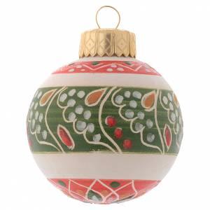 Décorations sapin bois et pvc: Boule blanche Noël en terre cuite Deruta 50 mm