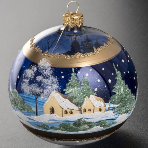Boule de Noel bleu paysage enneigé 10 cm s3