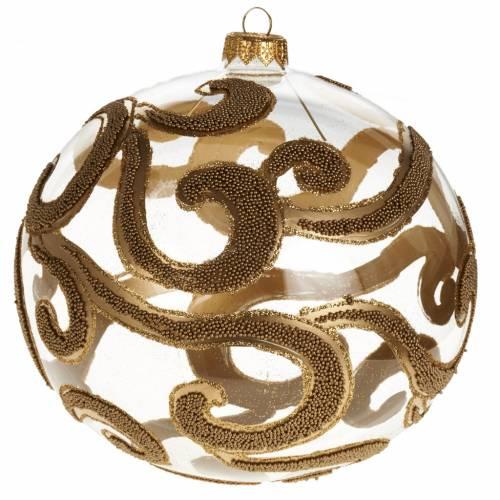 Boule de Noel décorée or verre transparente 15 cm s1