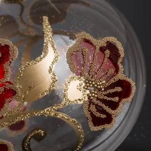 Boule de Noel fleurs rouges 8 cm s3