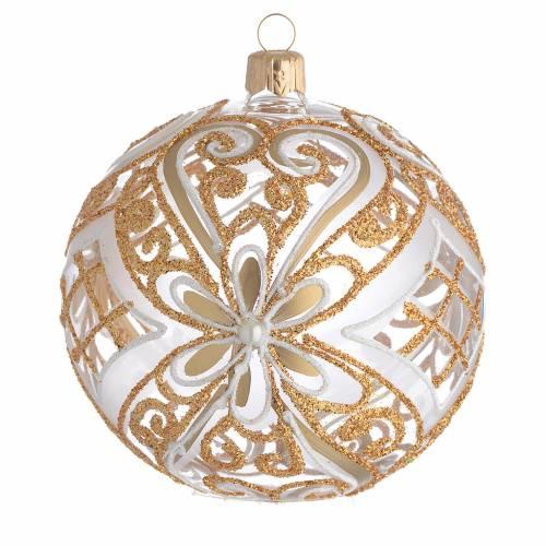 Boule de Noël or et blanc transparente 100 mm s1