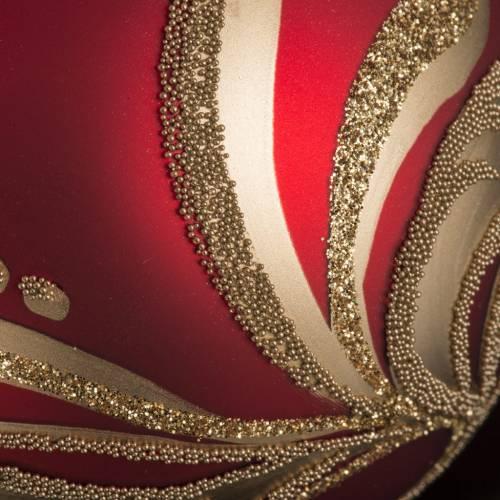 Boule de Noel rouge décorations florales or 8cm s3