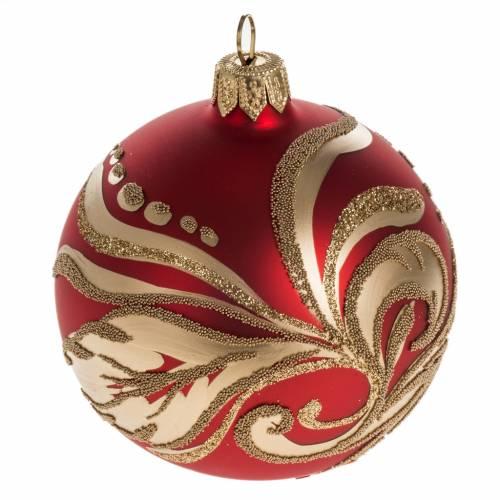 Boule de Noel rouge décorations florales or 8cm s1
