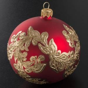 Boule de Noel rouge feuilles or 10cm s2