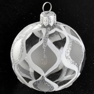 Boule de Noel transparente décorée argent glitter s2